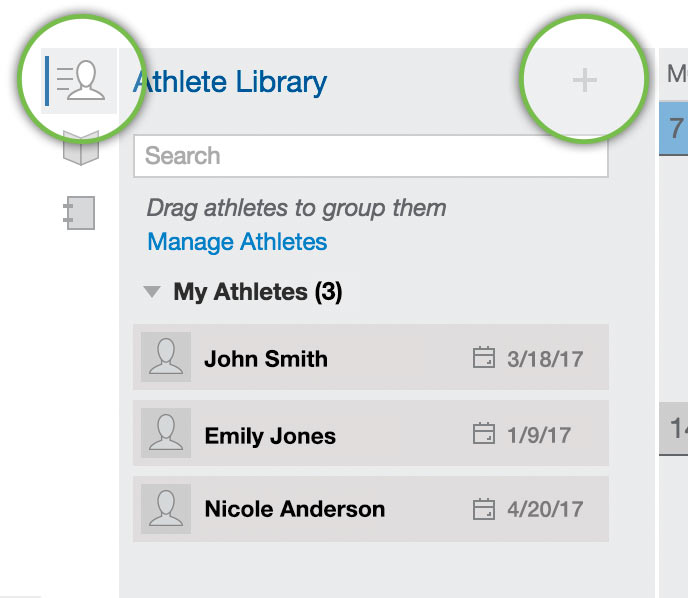 Click on the Athlete Library icon to add athletes to your account